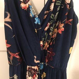 Floral Marineblu evening dress